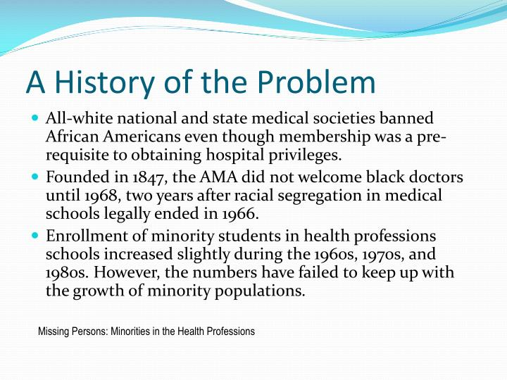 A History of the Problem