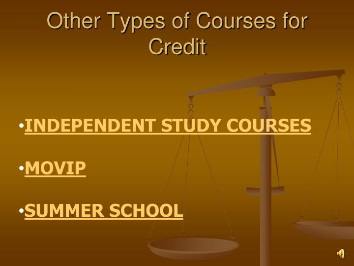 Other Types of Courses for Credit