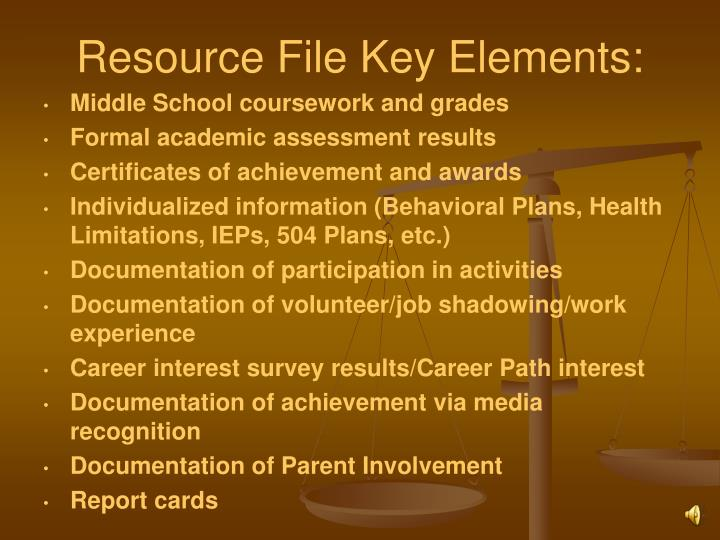 Resource File Key Elements:
