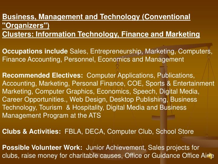 "Business, Management and Technology (Conventional ""Organizers"")"