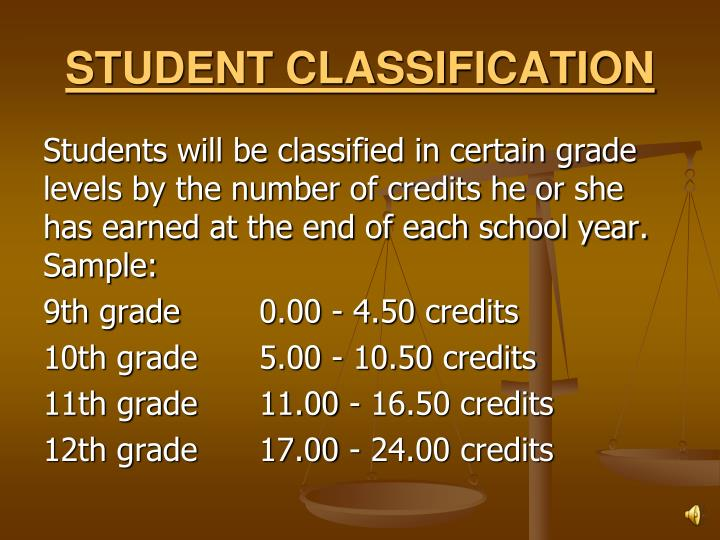 STUDENT CLASSIFICATION