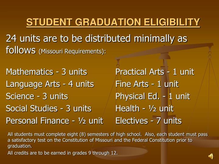 STUDENT GRADUATION ELIGIBILITY