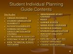 student individual planning guide contents
