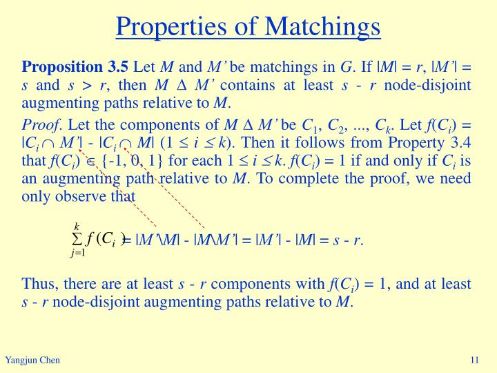 Properties of Matchings