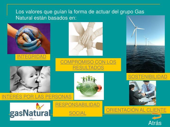Los valores que guían la forma de actuar del grupo Gas Natural están basados en: