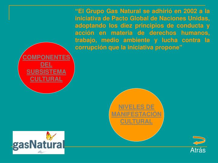 """""""El Grupo Gas Natural se adhirió en 2002 a la iniciativa de Pacto Global de Naciones Unidas, adoptando los diez principios de conducta y acción en materia de derechos humanos, trabajo, medio ambiente y lucha contra la corrupción que la iniciativa propone"""""""