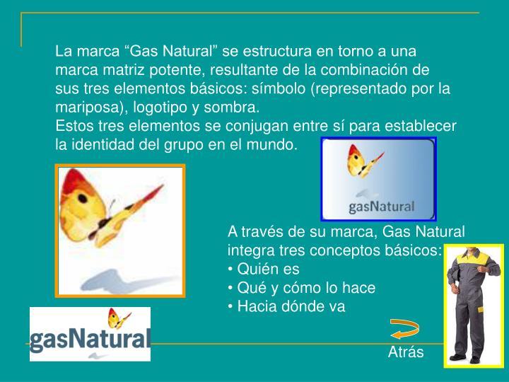 """La marca """"Gas Natural"""" se estructura en torno a una marca matriz potente, resultante de la combinación de sus tres elementos básicos: símbolo (representado por la mariposa), logotipo y sombra."""