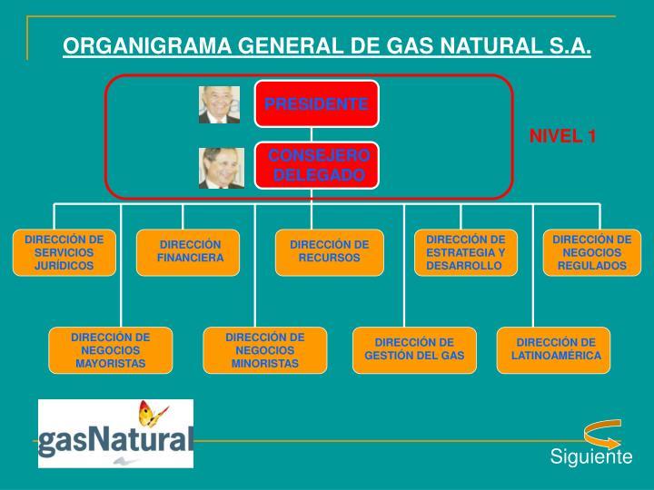 ORGANIGRAMA GENERAL DE GAS NATURAL S.A.