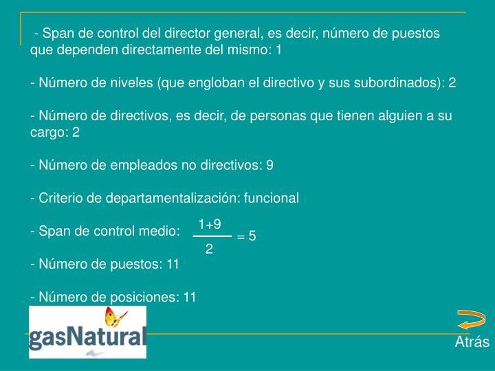 - Span de control del director general, es decir, número de puestos que dependen directamente del mismo: 1