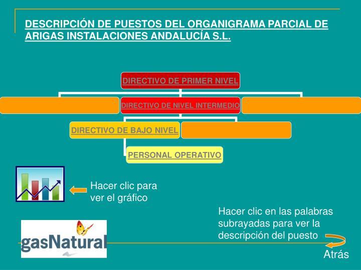 DESCRIPCIÓN DE PUESTOS DEL ORGANIGRAMA PARCIAL DE ARIGAS INSTALACIONES ANDALUCÍA S.L.