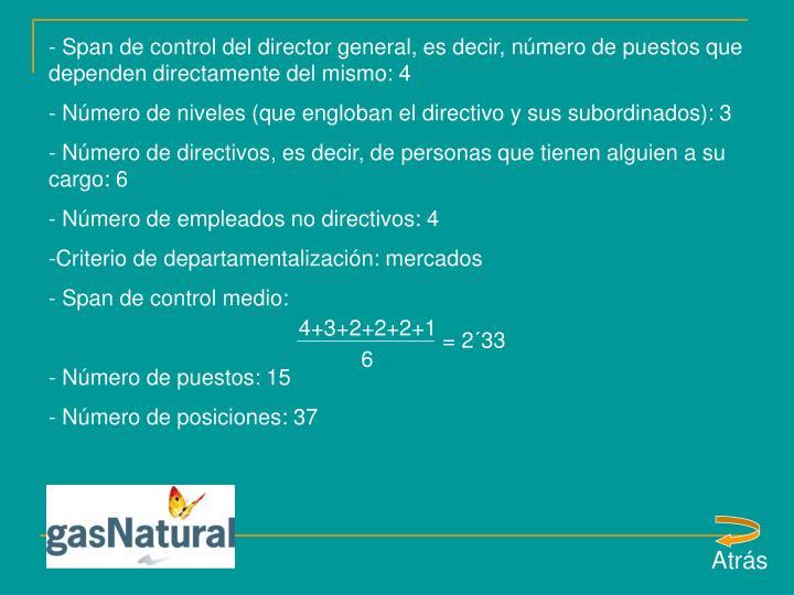 Span de control del director general, es decir, número de puestos que dependen directamente del mismo: 4