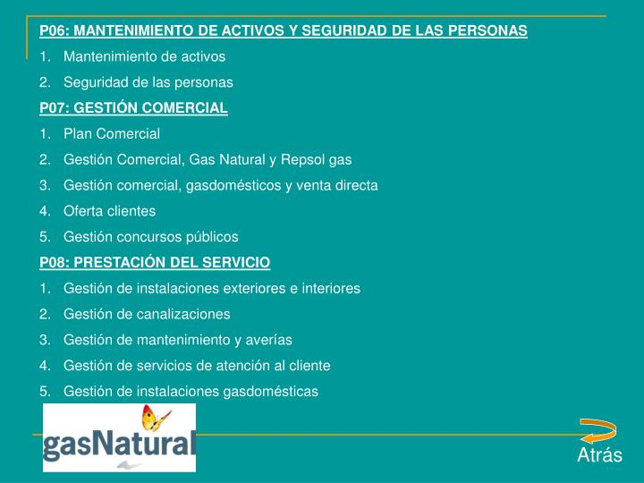 P06: MANTENIMIENTO DE ACTIVOS Y SEGURIDAD DE LAS PERSONAS