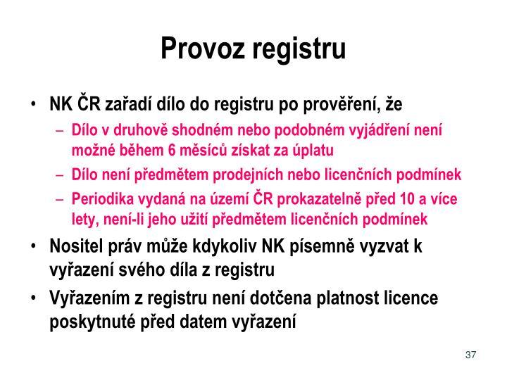 Provoz registru