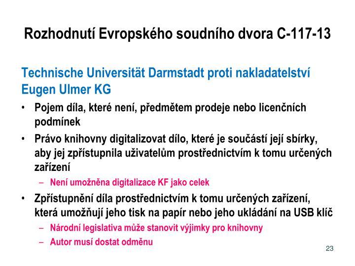 Rozhodnutí Evropského soudního dvora C-117-13