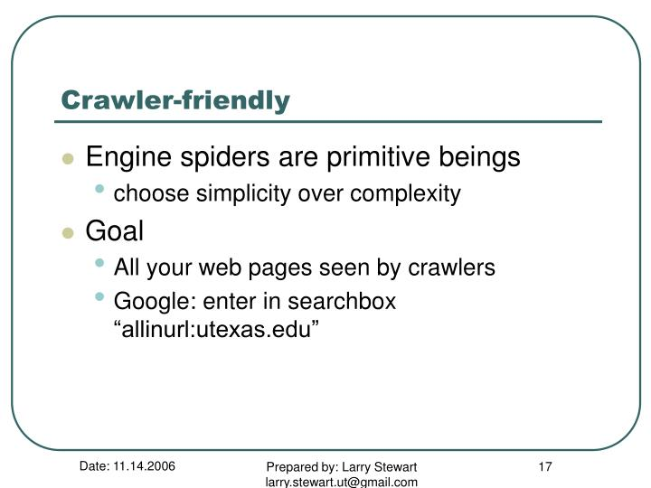 Crawler-friendly