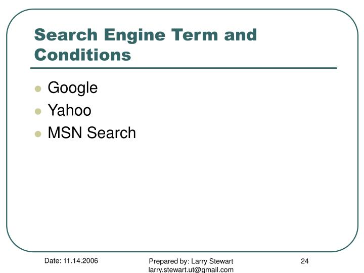 Search Engine Term and Conditions