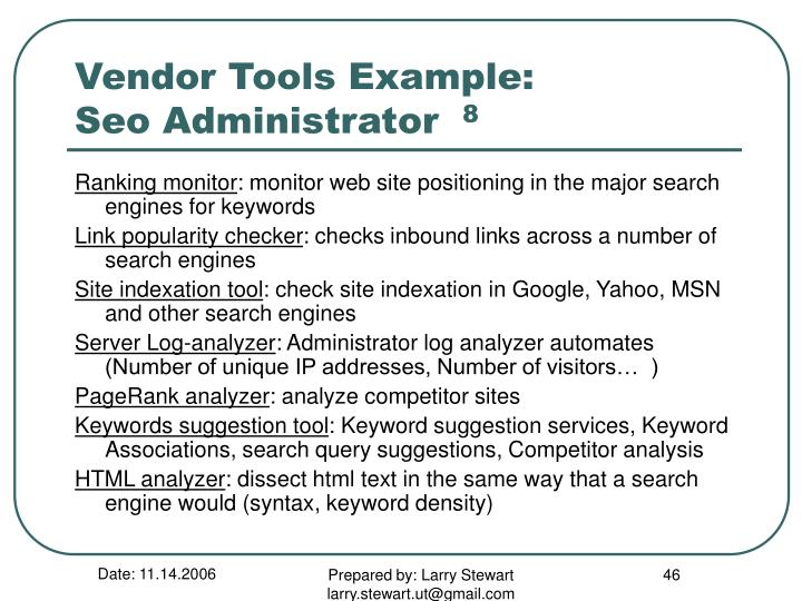 Vendor Tools Example: