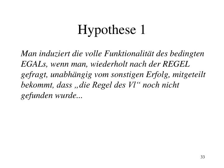 Hypothese 1