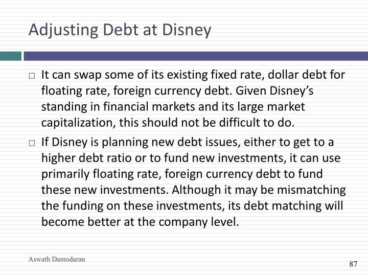Adjusting Debt at Disney