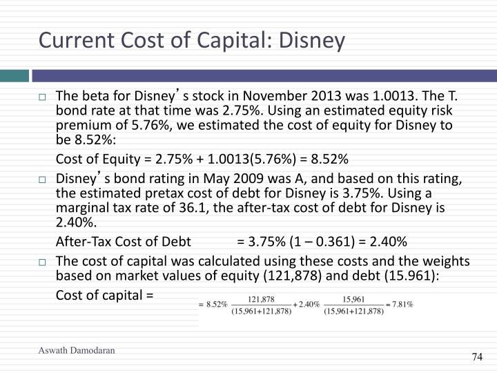 Current Cost of Capital: Disney