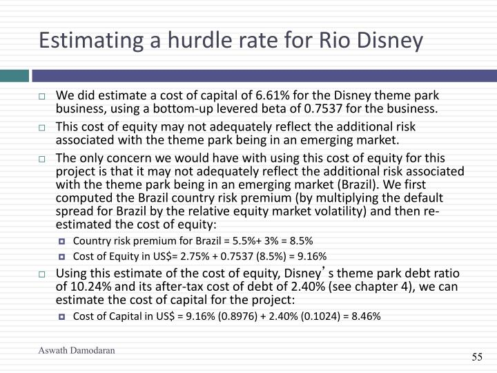 Estimating a hurdle rate for Rio Disney