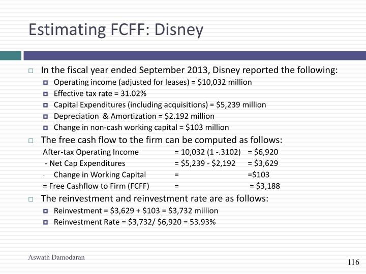 Estimating FCFF: Disney