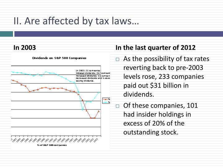 II. Are affected by tax laws…