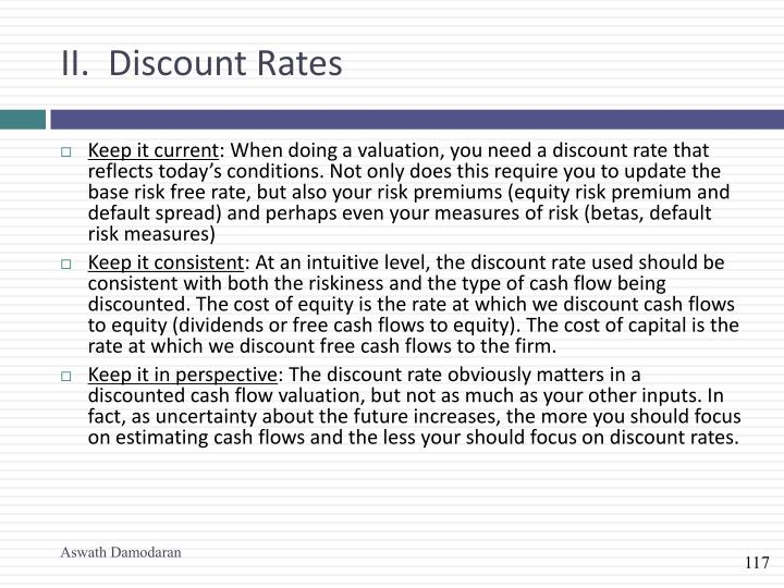 II.  Discount Rates