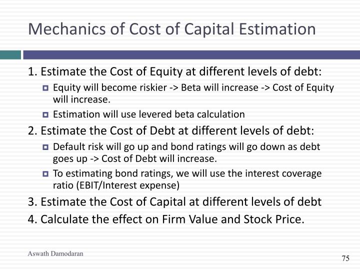 Mechanics of Cost of Capital Estimation