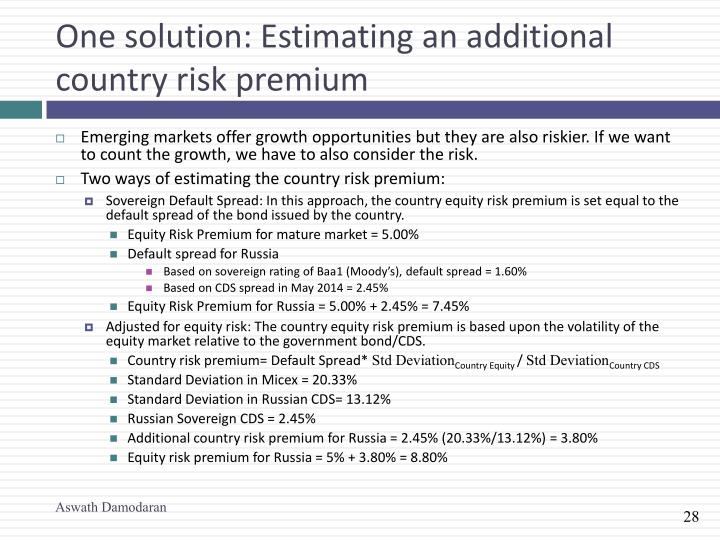 One solution: Estimating an additional country risk premium