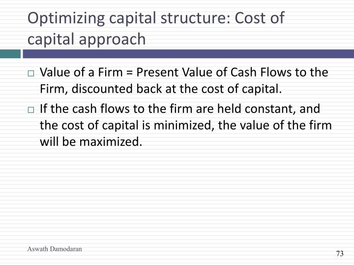 Optimizing capital structure: Cost of capital approach