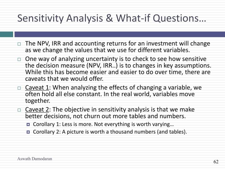 Sensitivity Analysis & What-if Questions…