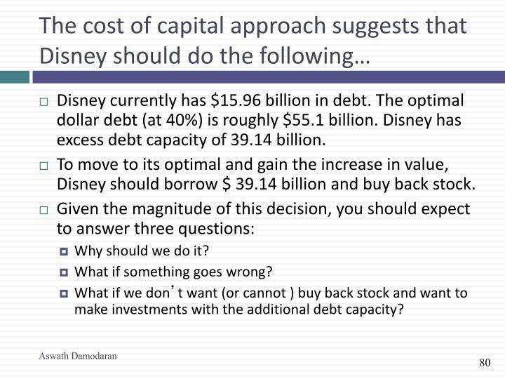 The cost of capital approach suggests that Disney should do the following…