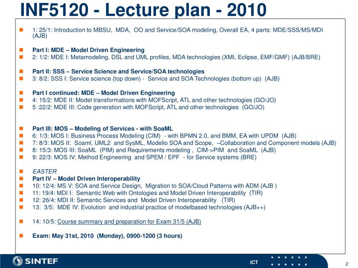 INF5120 - Lecture plan - 2010