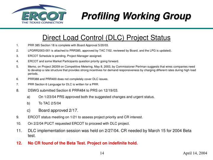 Direct Load Control (DLC) Project Statu