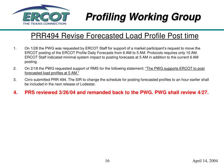 PRR494 Revise Forecasted Load Profile Post time