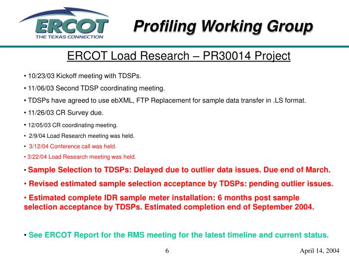 ERCOT Load Research – PR30014 Project