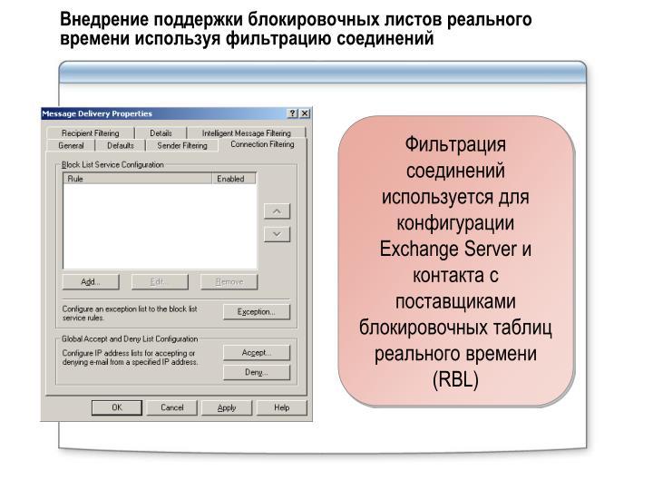 Внедрение поддержки блокировочных листов реального времени используя фильтрацию соединений