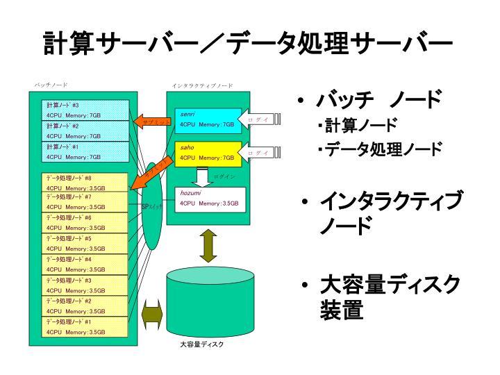 計算サーバー/データ処理サーバー