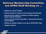 national membership committee and apwa staff working on
