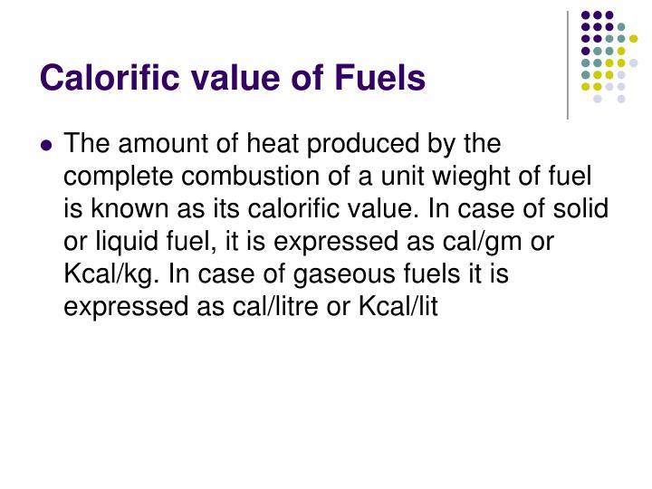 Calorific value of Fuels