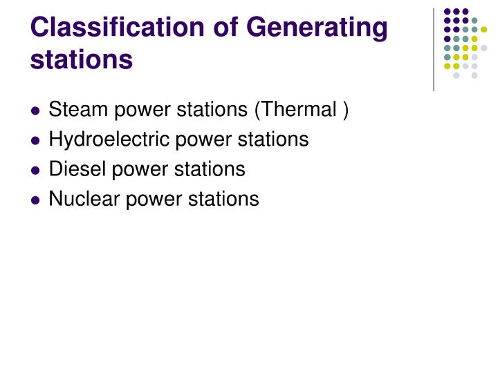 Classification of Generating stations
