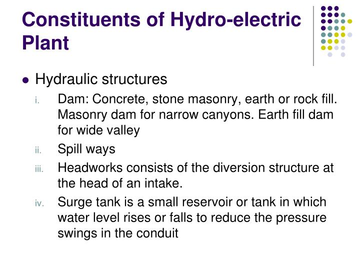 Constituents of Hydro-electric Plant