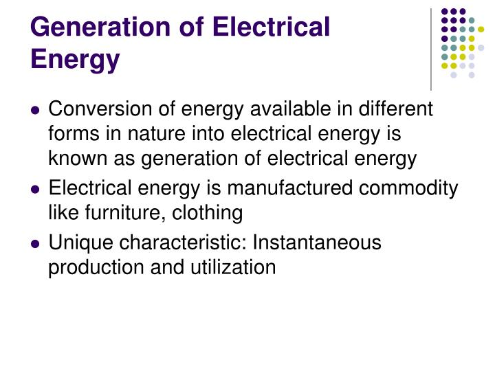 Generation of Electrical Energy