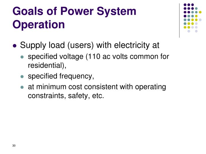 Goals of Power System Operation