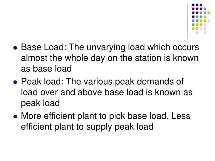 Base Load: The unvarying load which occurs almost the whole day on the station is known as base load