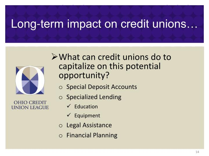Long-term impact on credit unions…