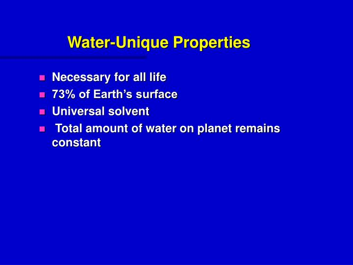 Water-Unique Properties
