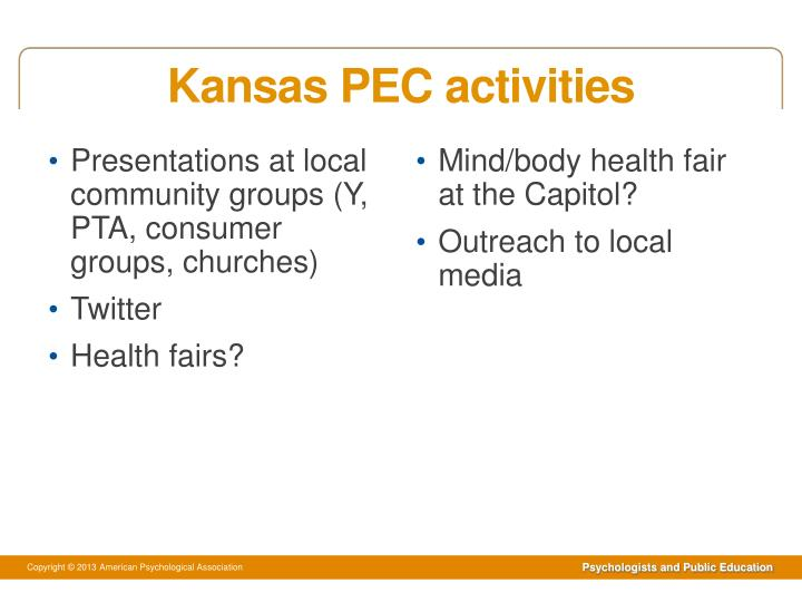 Kansas PEC activities