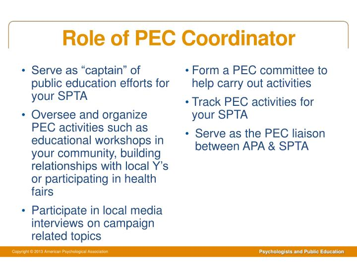 Role of PEC Coordinator